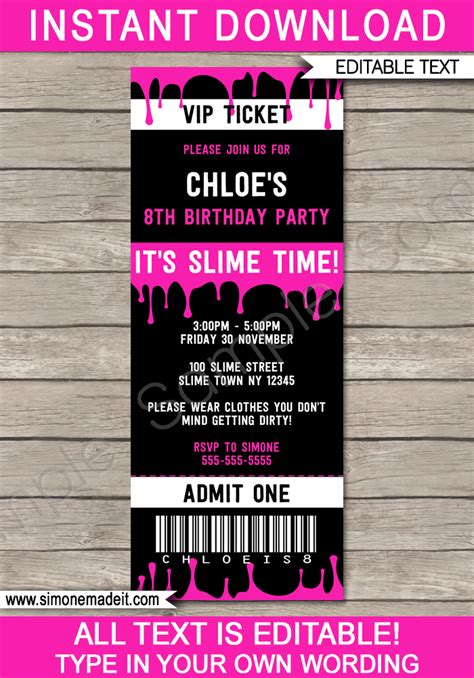 slime birthday party ticket invitation template slime