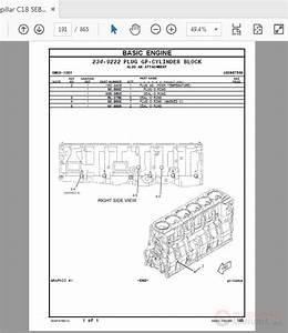 Caterpillar C18 Sebp4768-14 Marine Engine Parts Manual