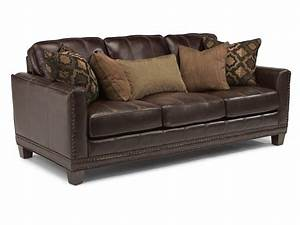 Flexsteel living room leather sofa 1373 31 hickory for Leather sectional sofa mart