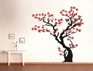 Cherry blossom tree wall decals stickers for Kitchen cabinets lowes with japanese cherry blossom wall art sticker