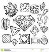 Crystal Jewelry Drawn Doodle Vector Coloring Gem Gems Jewel Vol Diamond Getrokken Krabbel Reeks Elements Gioielli Disegnato Insieme Scarabocchio Vettore sketch template