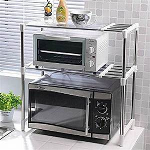 Adjustable Chrome Microwave Oven Rack Stand Shelf Unit Side Organizer Caddy with Hanging Hooks