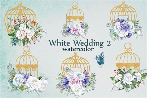 Watercolor White Flowers Clip Art White Peonies Floral