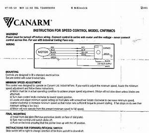 Canarm Fan Speed Control Wiring Diagram Gallery