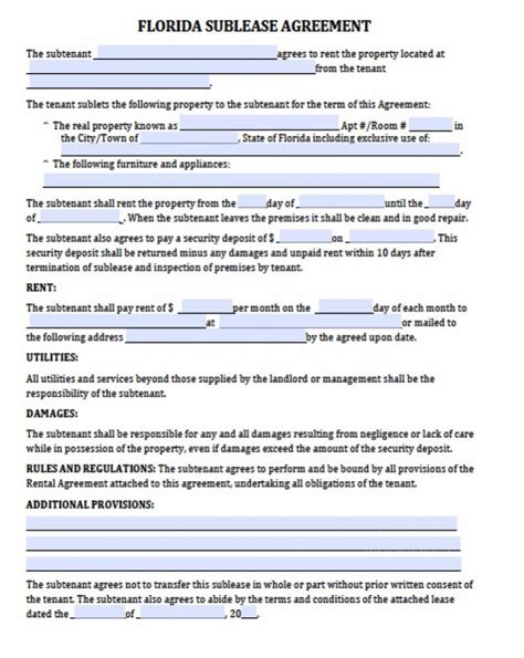 subletting agreement template  main group