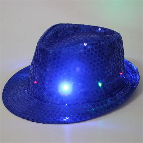 light up hats led light up hat fancy dress sequin trilby
