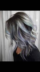 Grey ombré with purple and teal highlight | Hair ...