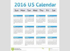 2016 US American English Calendar Week Starts On Sunday