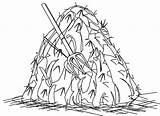 Hay Haystack Clipart Coloring Bale Drawing Outline Pages Clip Bales Template Cliparts Stack Drawings Library Sketch sketch template