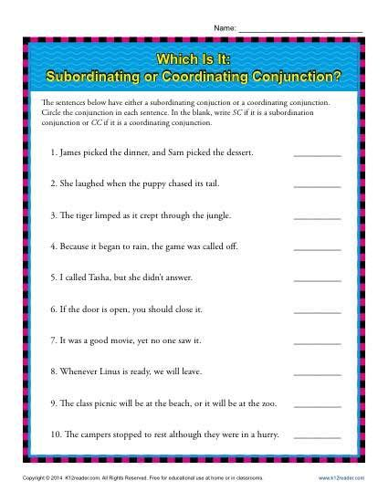 subordinating or coordinating conjunctions class