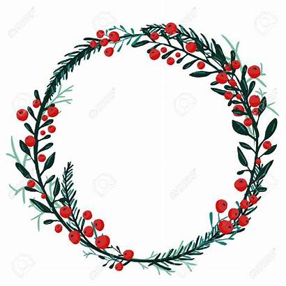 Wreath Christmas Cranberry Twig Clipart Berries Vector