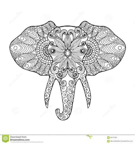 elephant head stock vector illustration  coloring