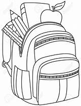 Backpack Clipart Illustration Drawing Coloring Outlined Bookbag Library Getdrawings Clip Depositphotos Vector Yayayoyo sketch template