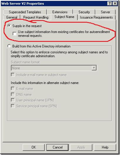 the request contains no certificate template san certs are issued by root ent ca only when web server certificate template is used