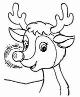 Rudolph Coloring Reindeer Nose Awesome sketch template