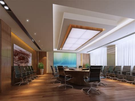 conference room with abstract wall painting 3d model max