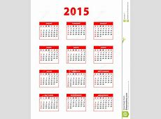 De Rode Spaanse Kalender Van 2015 Vector Illustratie
