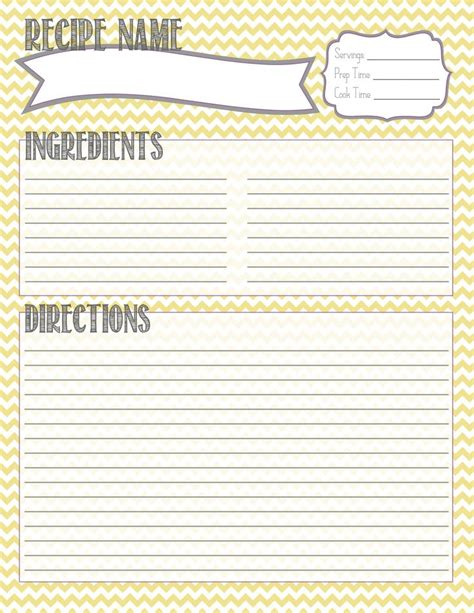 Recipe Template Printable Recipe Template Vastuuonminun