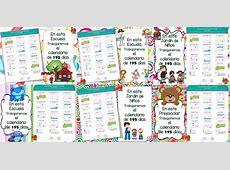 Mamparas del calendario de 195 día para el ciclo escolar