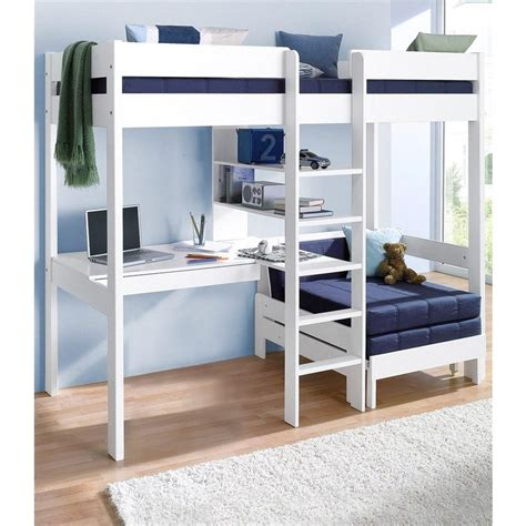 bureau les 3 suisses lit mezzanine avec plan de travail étagères blanc