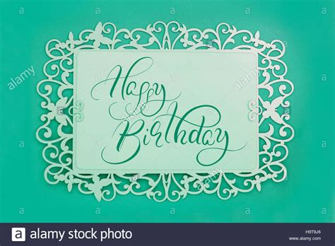 greeting card  text happy birthday  green background