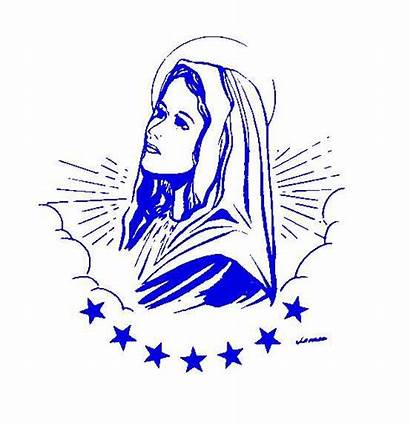 Rosary Mary Virgin Clip Clipart Blessed Holy