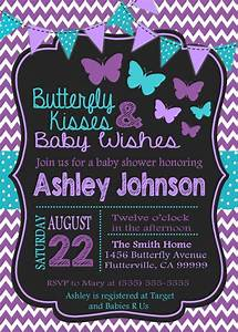 purple teal butterfly baby shower invitation by