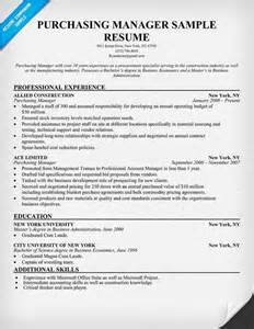 procurement resume cover letter exles cover letter for purchase manager
