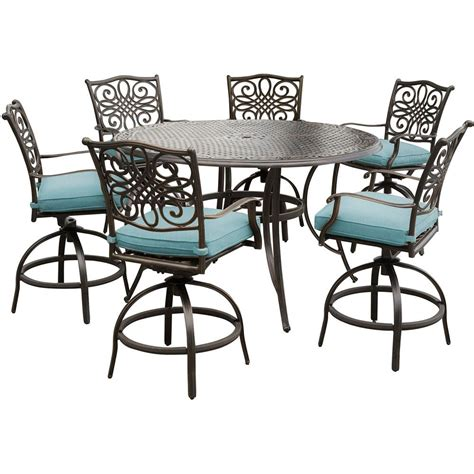 blue outdoor table and chairs hanover traditions 7 piece outdoor bar height dining set