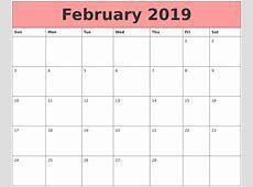 February 2019 Blank Calendar Template February 2019 Calendar