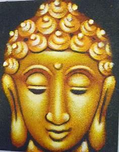 BUDDHA FACE PAINTING ON CANVAS 25 X 20CM GOLD FAIR TRADE ...