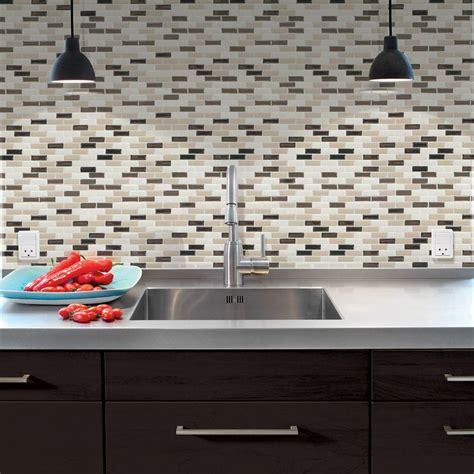 kitchen backsplash stick on tiles smart tiles 9 10 in x 10 20 in mosaic peel and stick