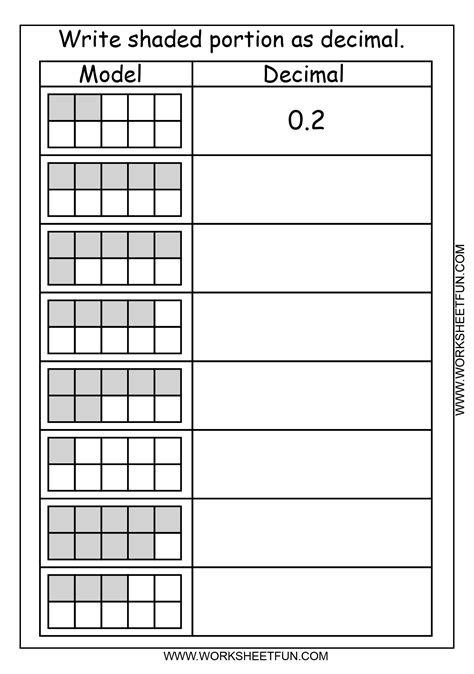 decimal grid worksheets decimal place value adding