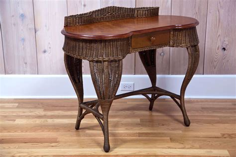 wicker desk and chair