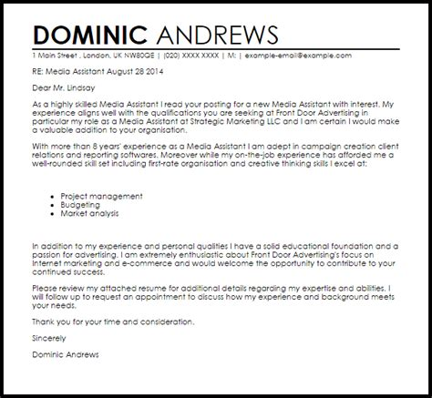 cover letter project manager marketing