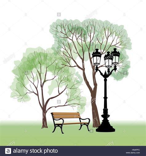 panchina nel parco con alberi e lione citt 224 parco paesaggio vettore disegnati a mano sketch