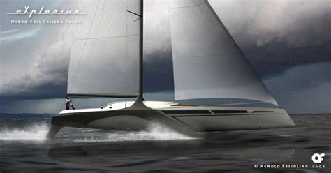 Hydrofoil Yacht Design by Hydrofoil Sailing Yacht Designs Explorius Has V Shaped