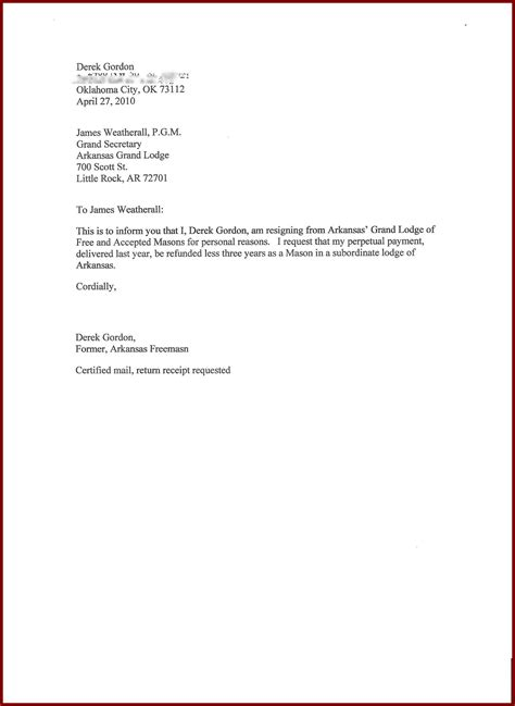 resignation letter sle for personal reasons coinfetti co