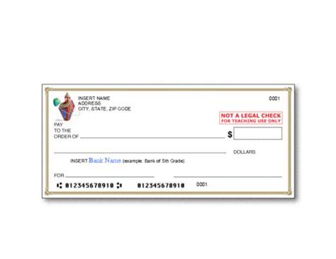 bank check template education world