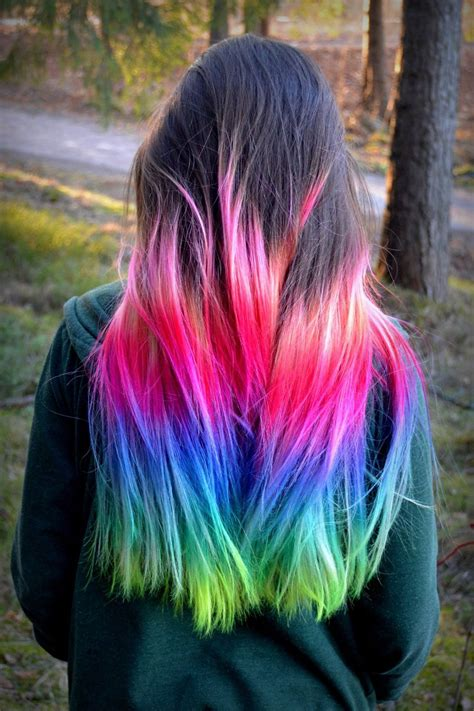 Pink Blue Rainbow Ombre Dip Dyed Hair Color Inspiration