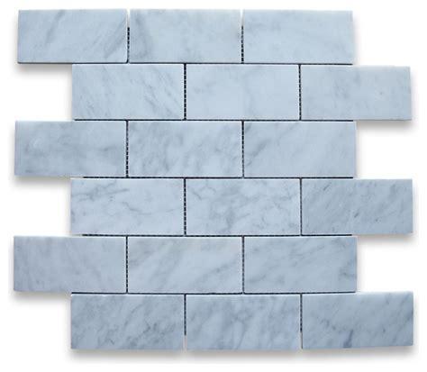carrara white marble subway brick mosaic tile 2x4 honed