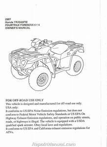 2007 Honda Trx500fm Fourtrax Foreman Atv Owners Manual
