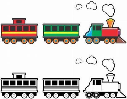 Train Cartoon Clipart Clip Cars Tracks Track