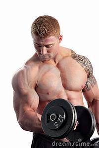 bodybuilder doing bicep curl with dumbbell stock photo