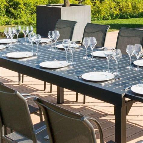 table de jardin extensible aluminium piazza 320 x 100 cm graphite salon de jardin table