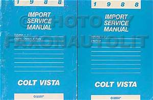 1988 Colt Vista Repair Shop Manual Original 2 Volume Set