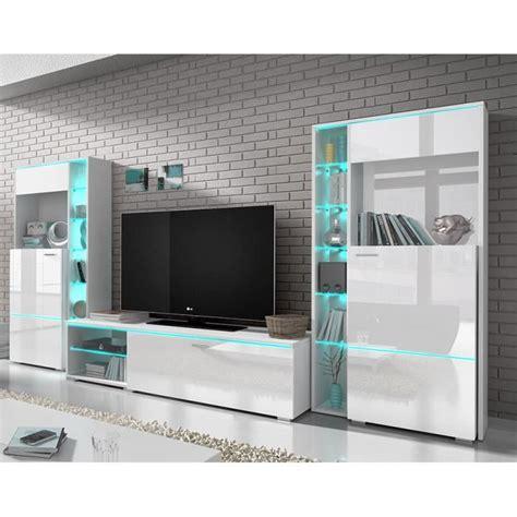 ensemble meuble tv blanc laqu 233 design dolores avec led achat vente meuble tv ensemble meuble