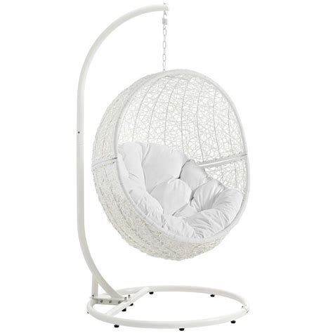 Swing Chair Stand by Modway Hide Patio Swing Chair With Stand In White Eei