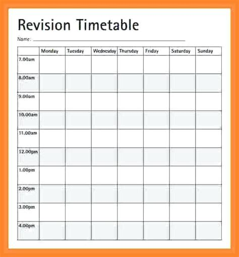 Blank Revision Timetable Template by Colorful Weekly Study Timetable Template Photos