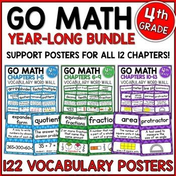 Go Math 4th Grade Vocabulary For The Year By Shelly Rees Tpt